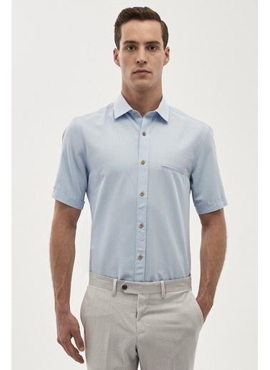 Altınyıldız Classics Tailored Slim Fit Kısa Kollu Gömlek 4A2018200080 Mavi